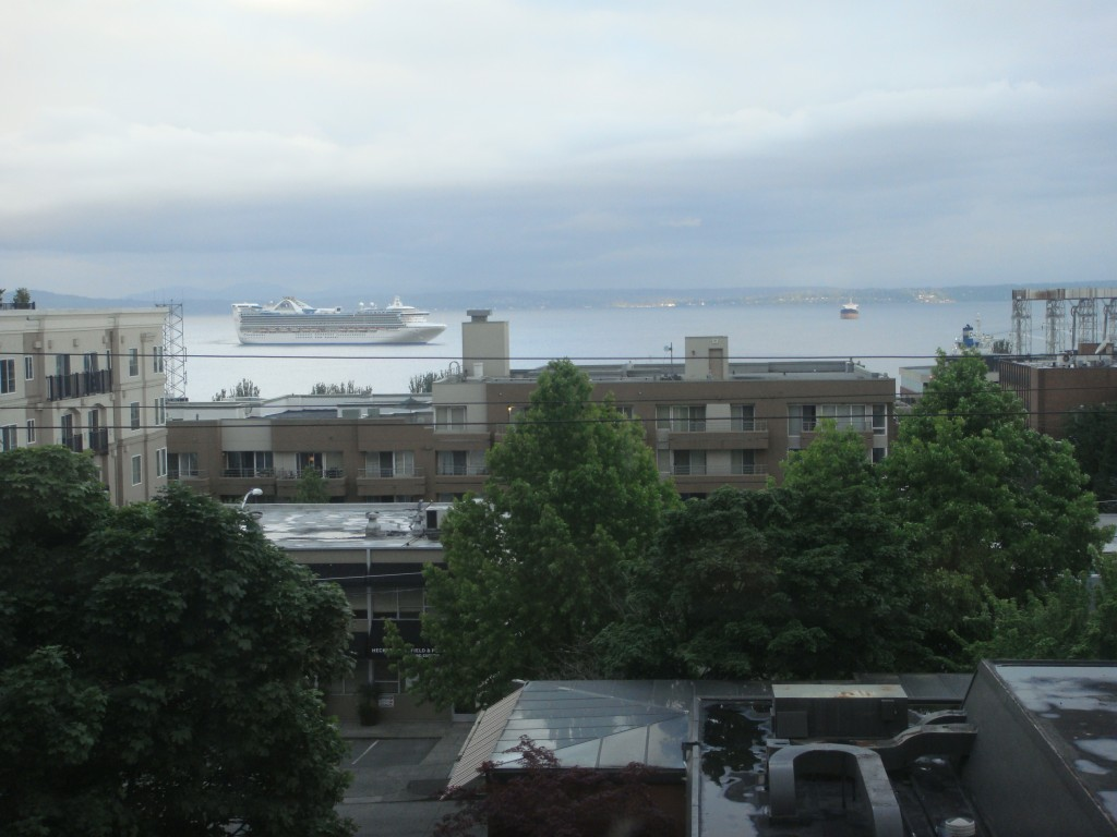 View from our apartment on a cloudy day in Seattle