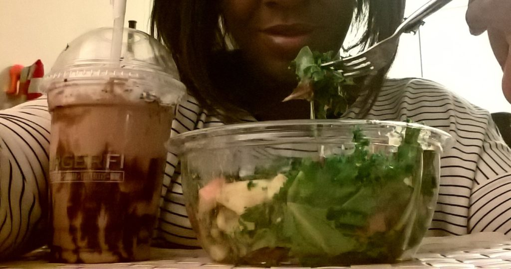 Balanced diet - Salad & Milkshake